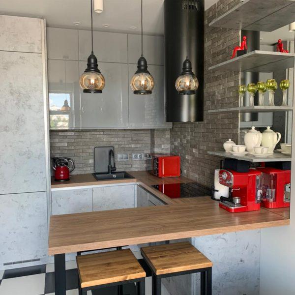 Кухня «Аргенто» в стиле лофт (эмаль/пластик)